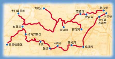 野三坡/十渡/潭柘寺 旅游路线图